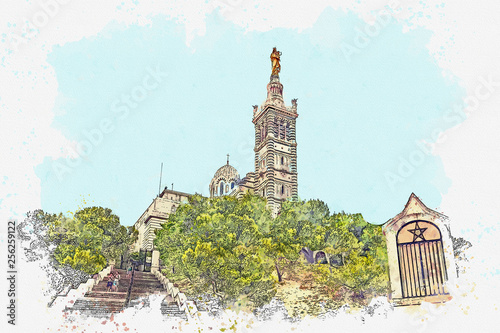 Watercolor sketch or illustration of the view of the Basilica of Notre-Dame de la Garde in Marseille in France