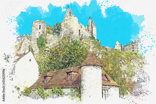 Watercolor sketch or illustration of the view of the village and the ruined castle of Angles-sur-l'Anglain in France.