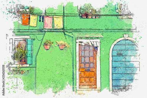 Watercolor sketch or illustration of a view of a traditional European housing in Portugal with windows, flowers and clothes hung out to dry