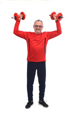 man with dumbbells on white background © curto