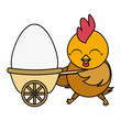 beautiful hen with egg painted in wheelbarrow - 256282957