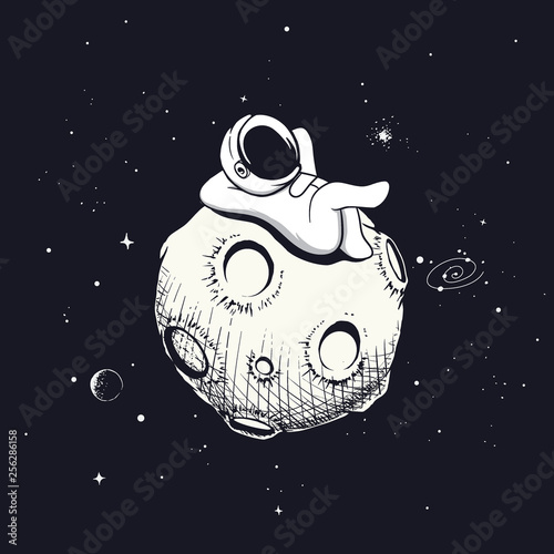 astronaut relax on the moon