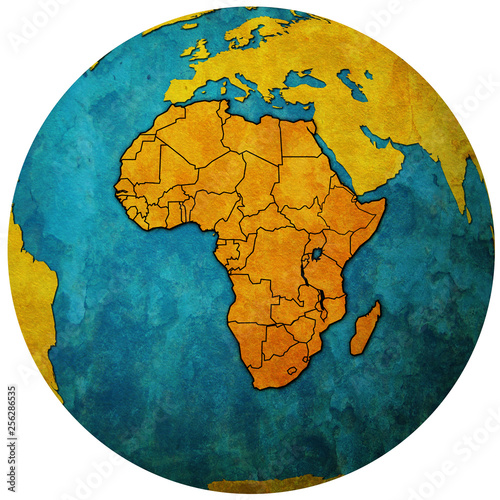 globe map with political map of africa