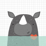 Cute nautical print with rhinoceros. Kids hand drawn graphic. Vector illustration.
