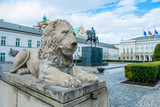 The Presidential Palace in Warsaw and the statue of Prince Poniatowski - 256299518