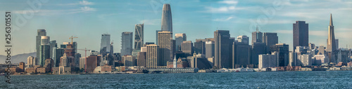 San Francisco skyline and business district seen from Treasure Island on a nice day - 256301551