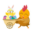 beautiful hen with egg painted in wheelbarrow - 256311538