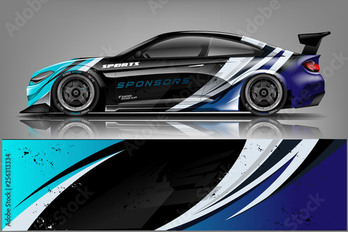 sport Car decal wrap design vector. Graphic abstract stripe racing background kit designs for vehicle, race car, rally, adventure and livery - Vector  - 256313334