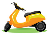 Yellow modern scooter vector illustration on white background.