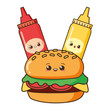 kawaii cartoon burger sauces - 256315163