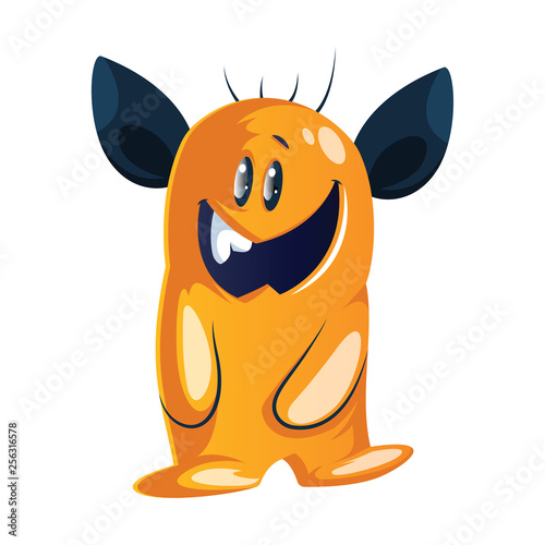Goofy-looking  yellow cartoon monster with big  black ears white background vector illustration.