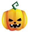 Evil smilling yellow cartoon pumpkin vector illustration on white background.