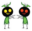Two pumpkin head monsters vector illustration on white background.