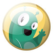 Cartoon character of a green monster waving vector illustration in yellow circle on white background. - 256325395