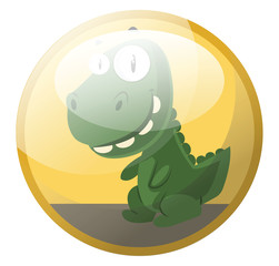 Cartoon character of a green dinosaur smiling vector illustration in yellow circle on white background.