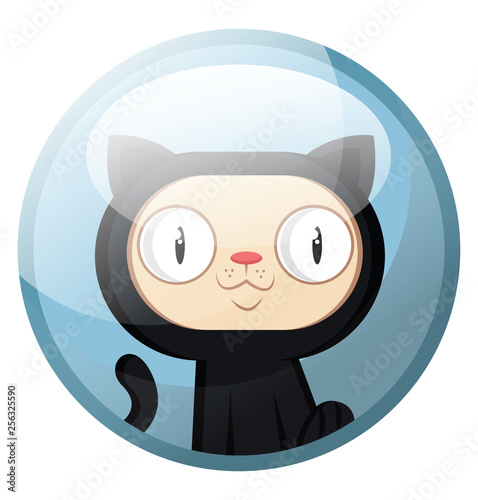 Cartoon character of a black cat with white face smiling vector illustration in light blue circle on white background.