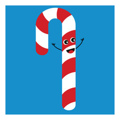 Simple red and white candy cane smiling vector illustration onwhite background.
