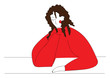 Girl in red sweater and brown curly hair  vector illustration on white background