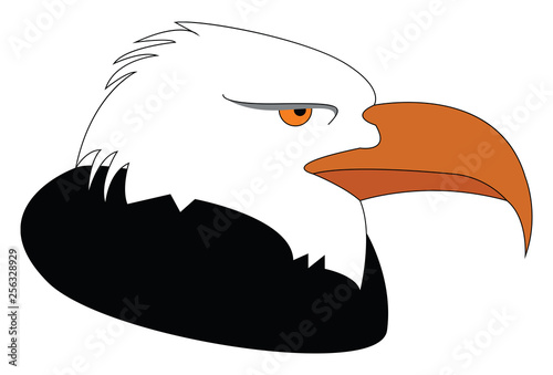 Profile of a black and white eagle vector illustration on white background