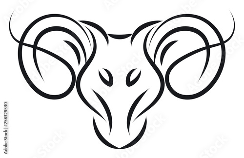 Aries sign tattoo illustration color vector on white background © Morphart