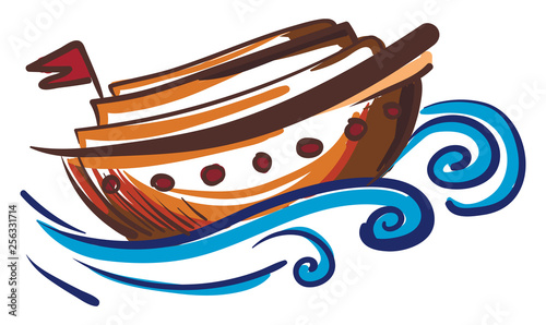 Painting of a brown sailing boat vector or color illustration