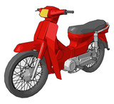 Scooter or motorcycle vector or color illustration