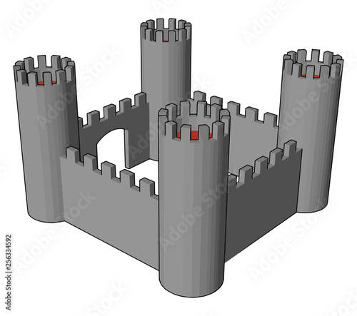 Small open castle vector or color illustration