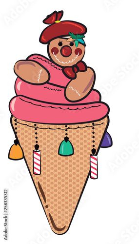 Ice cream cone shaped sweet vector or color illustration