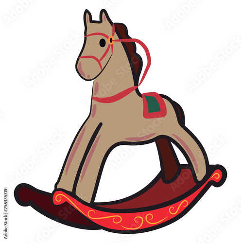 Rocking horse toy Christmas gift vector or color illustration
