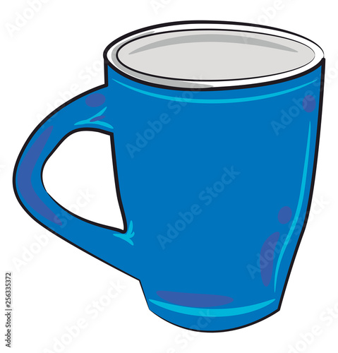 A blue glass or mug vector or color illustration