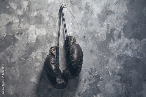 box gloves on wall background