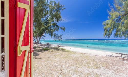 canvas print picture Vacances sur plage de l'Hermitage, île de la Réunion