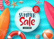 Summer sale vector banner design with colorful beach elements and sale text in white space and blue beach background for shopping seasonal discount promotion . Vector illustration.