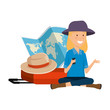 tourist woman with paper map and suitcase and hat