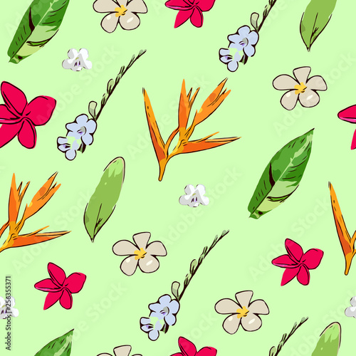 Botanical tropical  leave and flower seamless pattern, summer tropical forest jungle scene © ipuwadol