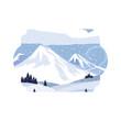 mountains snowscape scene icon