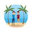 tourist couple avatars characters