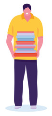 Happy bookworm. Handsome male student holding textbooks and smiling isolated on white background. Vector illustration in a flat cartoon style © Alena Che