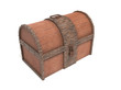Old vintage wooden trunk with rusted metal elements. 3d rendering illustration isolated