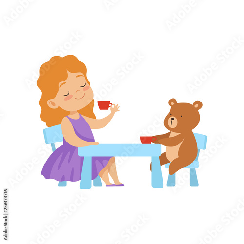 Cute Little Girl Playing With Her Teddy Bear at Tea Party Vector Illustration
