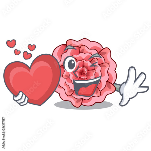 With heart carnations flower isolated with the cartoon