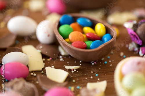easter, sweets and confectionery concept - close up of chocolate egg and candy drops on wooden table