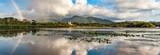 Killarney lakes and Ross Castle scenic  rainbow panorama landscape