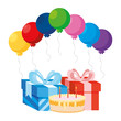 gift box present with balloons helium and sweet cake