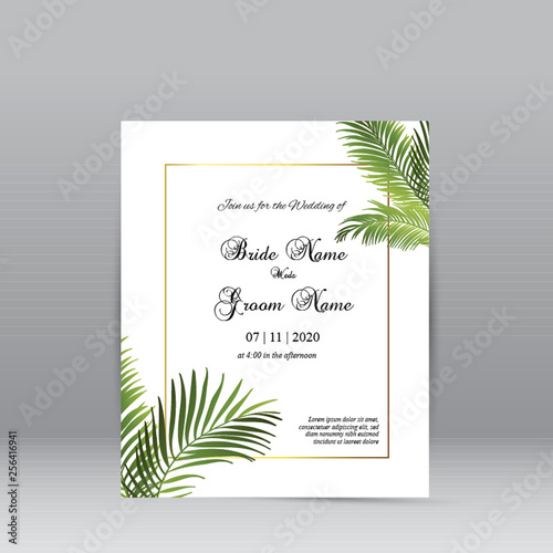Print  Simple Green Leaves Wedding Invitation Template