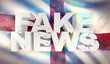 3D illustration of fake news concept with background flag of England.