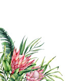 Watercolor tropical flowers and leaves card. Hand painted protea and palm leaves isolated on white background. Nature botanical illustration for design, print. Realistic delicate plant. - 256427718