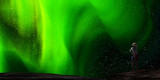 3d rendering of nice aurora with clear start behind it