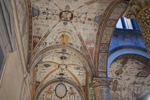"Постер, картина, фотообои ""Florence, Italy - February 27, 2019 : View of Palazzo Vecchio first courtyard"""
