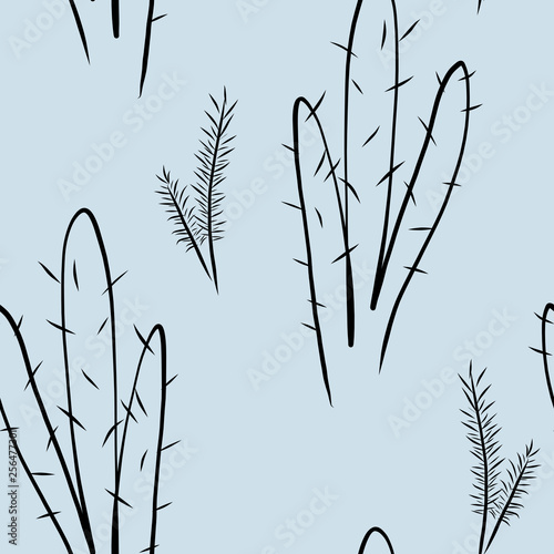 Seamless pattern with cactus on blue desert background, digital drawing © justesfir